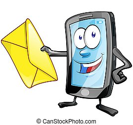 smartphone cartoon character with envelope. Clip Art Vector illustration