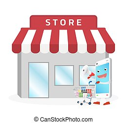 smartphone cartoon shopping