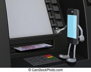 smartphone, cela, est, utilisation, une, distributeur billets banque