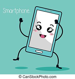 smartphone character kawaii style