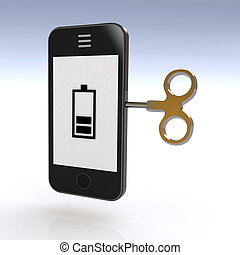 smartphone charged with a key