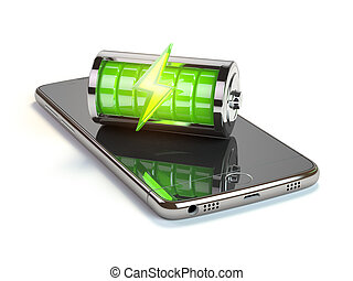 Smartphone charging application concept. Mobile phone and green battery charge indicator. 3d