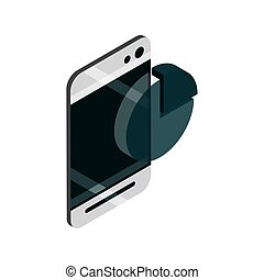 smartphone chart business device gadget technology isometric isolated icon