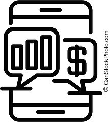 Smartphone chart loan icon, outline style
