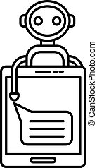 Smartphone chat bot icon, outline style
