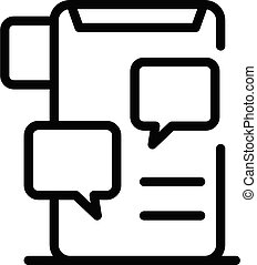 Smartphone chat icon, outline style