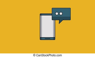 Smartphone chat symbol HD - Chat bubble from smartphone over...
