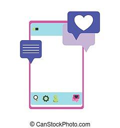 smartphone chatting love heart romantic isolated icon design