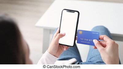 smartphone, closeup, card., écran, tenue, mockup, femme, crédit