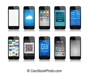 Collection of mobile phone interface designs showing different functions and apps. Isolated on white.