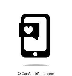 smartphone, com, coração, conversa, ícone, apartamento, estilo, isolado, branco, fundo, para, seu, web site, desenho, logotipo, app, ui., ilustração