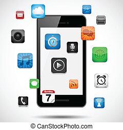 smartphone, com, flutuante, apps