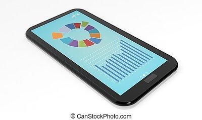 smartphone, com, infographics, ligado, tela, isolado, branco