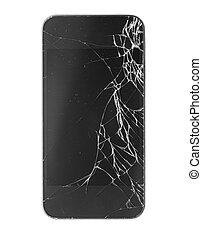 smartphone, com, quebrada, tela, isolado, branco