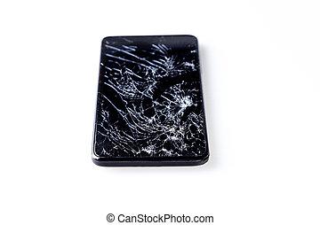 smartphone, com, quebrada, tela, isolado, ligado, white.