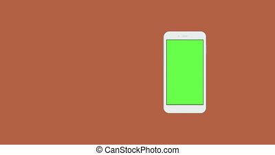 smartphone, com, verde, tela, gire, fundo