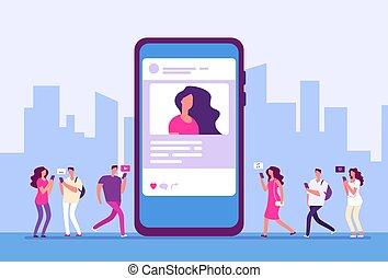smartphone, commercialisation, gens, média, concept., social, communication, icons., vecteur, fond, internet, suivre, message
