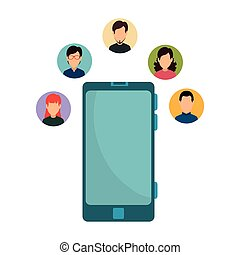 smartphone, communauté, gens