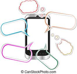 smartphone, como, -, discurso, iphone, origami, burbujas