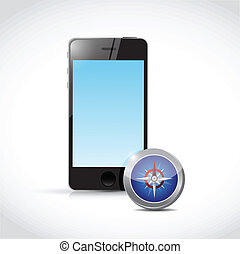 smartphone compass illustration design