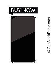 smartphone, compra, now., isolado, branco, experiência., vetorial, ilustração