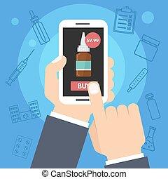 smartphone, comprare, service., mano., internet, farmacia, vettore, salute, medicina, presa a terra, linea, uomo, illustration.