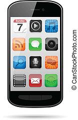 smartphone, con, app, iconos