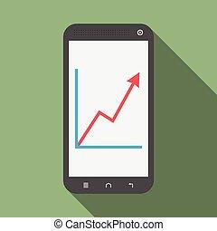 smartphone, con, crescita, grafico