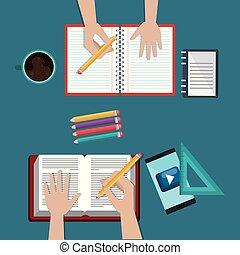 smartphone, con, educazione, facile, e-imparando, icone