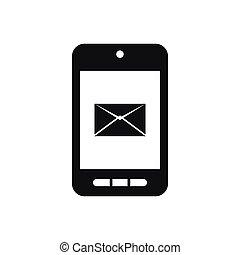 smartphone, con, email, simbolo, su, il, schermo, icona