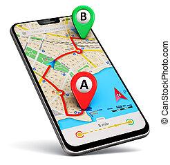 smartphone, con, gps, mapa, navegación, app