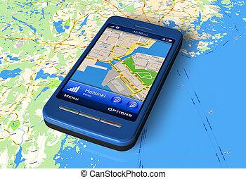 smartphone, con, gps, su, mappa