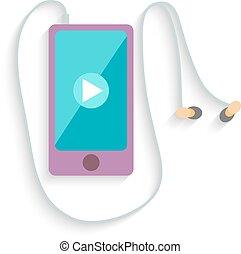 smartphone, con, headphones., plano, design., vector
