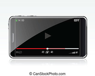 smartphone, con, jugador video