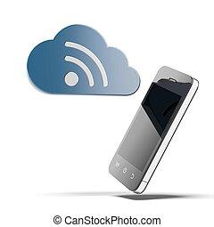 smartphone, con, nube