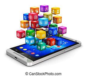 smartphone, con, nuvola, di, icone