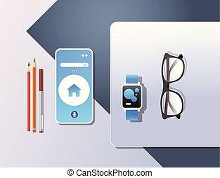 smartphone, conceito, ângulo, escritório, móvel, laptop, topo, smartwatch, desktop, material, local trabalho, digital, tela, horizontais, tecnologia, app, esperto, vista