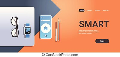 smartphone, conceito, ângulo, espaço escritório, móvel, laptop, topo, smartwatch, desktop, material, local trabalho, digital, tela, horizontais, cópia, tecnologia, app, esperto, vista