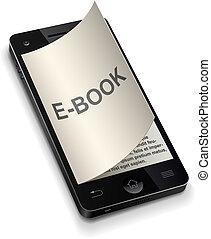 smartphone, concept, 3d, e-livre