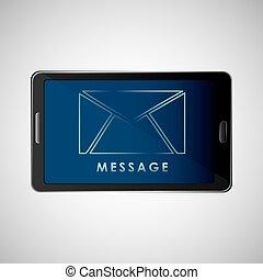 smartphone, concept, bavarder, message, email, icône