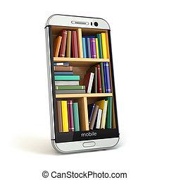 smartphone, concept., biblioteca, internet, e- aprendizaje,...