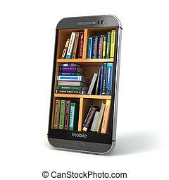 smartphone, concept., bibliothèque, internet, e-apprendre, education, ou