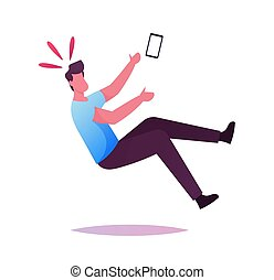 smartphone, concept., caer, piso, mano, clumsiness, ...