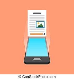smartphone, concept., isométrique, design., blogging