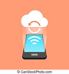 smartphone, concept., isométrique, synchronisation, design.