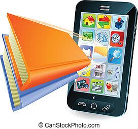 smartphone, concept, livre