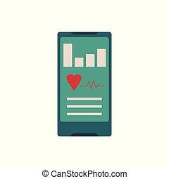 smartphone, concept, mobile, application., app, healthcare, -, poursuite, fitness, sport
