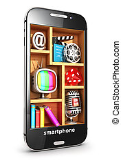 smartphone, concept, multimédia, 3d