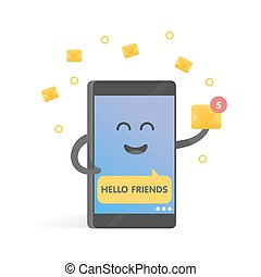 Smartphone concept of sending and receiving online messages. Cute Cartoon character phone with hands, eyes and smile