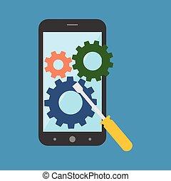 smartphone, concept., réparation, plat, design.